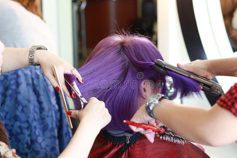 Violet short hair in salon. Two hairdressers are service a violet short hair customer by cutting and ironing in salon stock photo