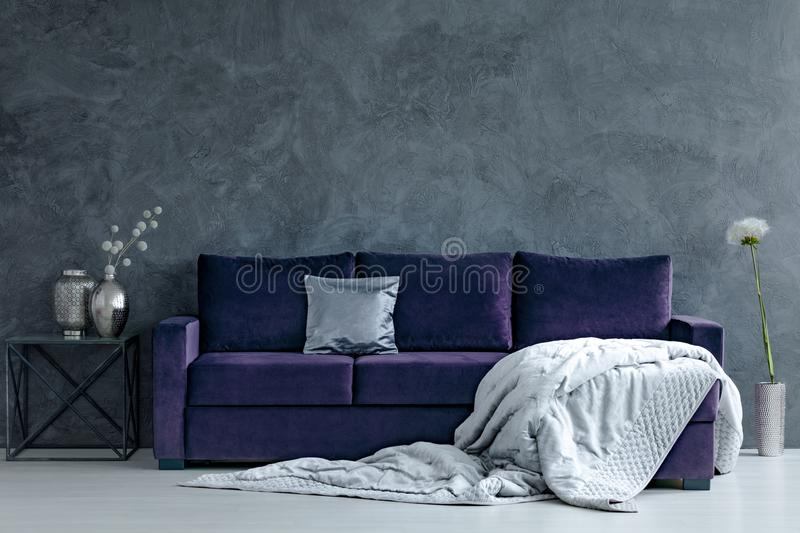 Download Violet And Silver Living Room Stock Photo