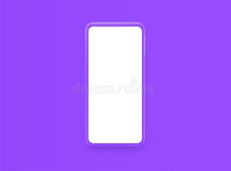 Violet smartphone with blank violet screen stock illustration