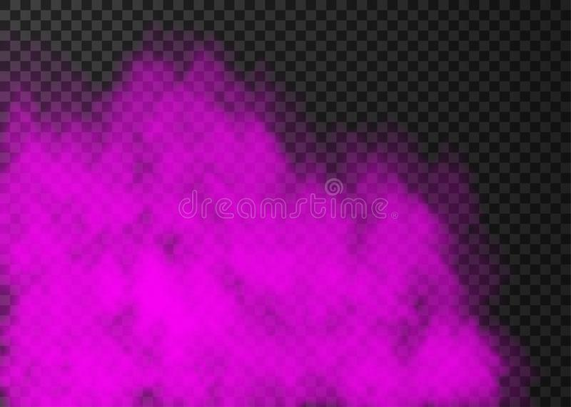 Violet smoke  or fog isolated on transparent background. Violet smoke  isolated on transparent background.  Steam special effect.  Realistic  colorful vector stock illustration