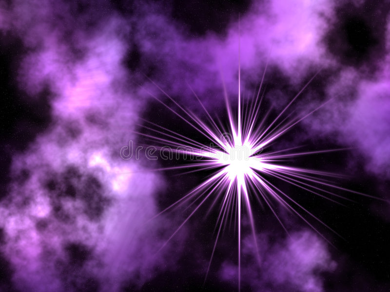 Violet space. Abstract astronomy astrophoto awe background black bright cloud comet computer dark design dust exploration field flower galaxy gas glowing hand vector illustration