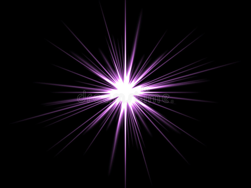Violet star on a black background.