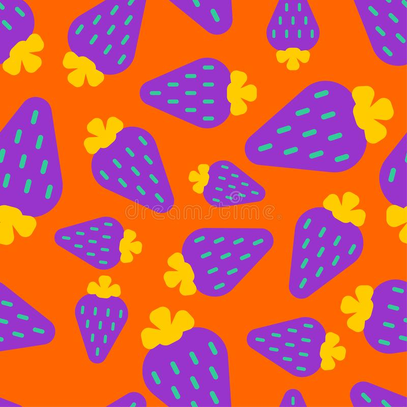 Violet strawberry pattern seamless. Berry background. summer texture. Vector Ornament.  vector illustration