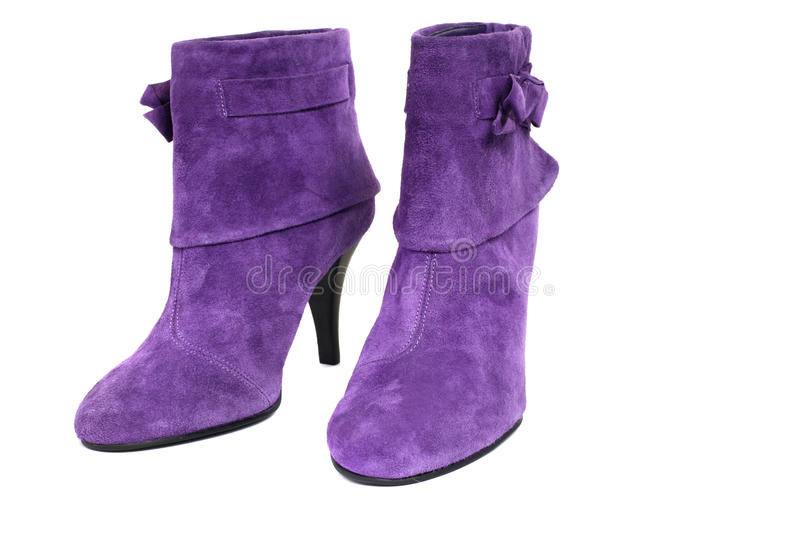 Violet suede boot stock images