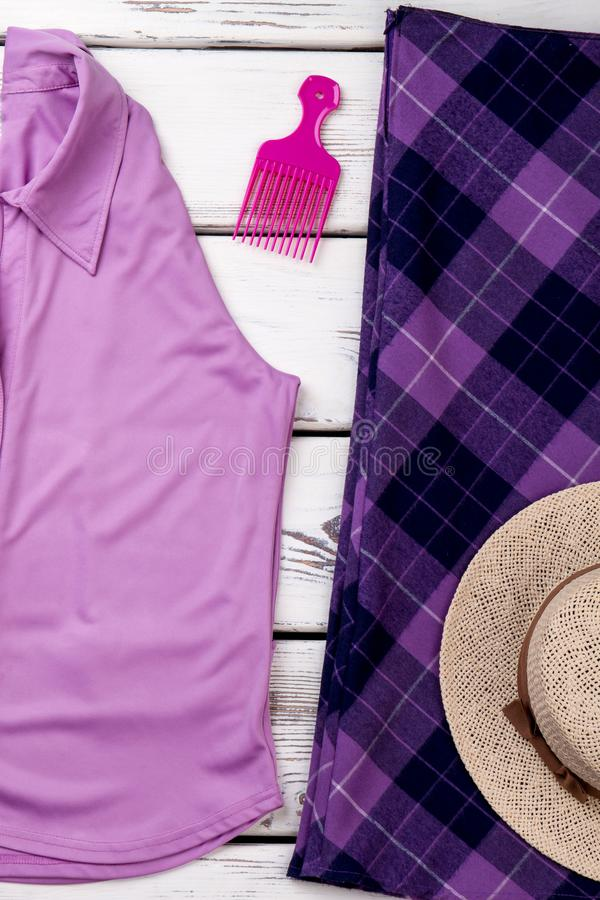 Violet summer clothes concept. royalty free stock photos