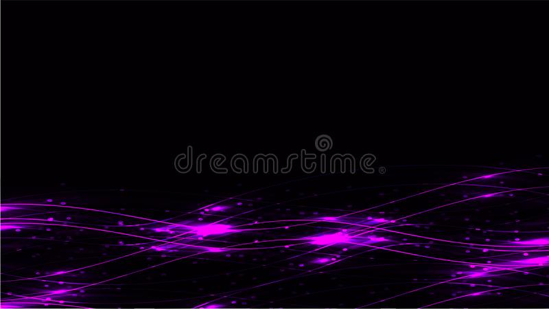 Violet transparent abstract shiny magical cosmic magical energy lines, rays with glare and dots and light shines on a dark backgro. Und from below. Vector vector illustration
