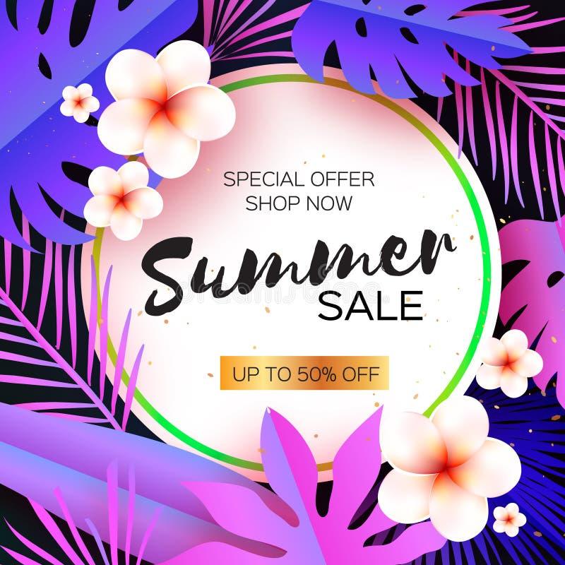 Violet Tropical Summer Sale Palmblad växter, blommar frangipanien - Plumeria Exotisk papperssnittkonst hawaiibo cirkel royaltyfri illustrationer