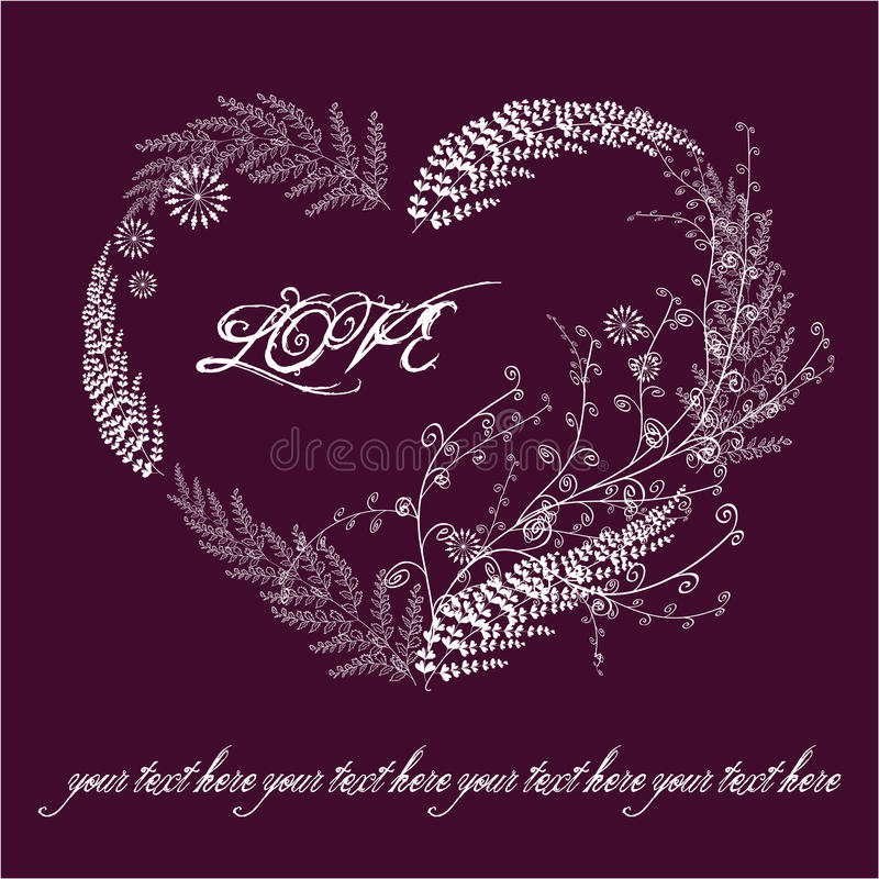 Download Violet Valentine Card With Floral Heart Stock Vector - Image: 17879702