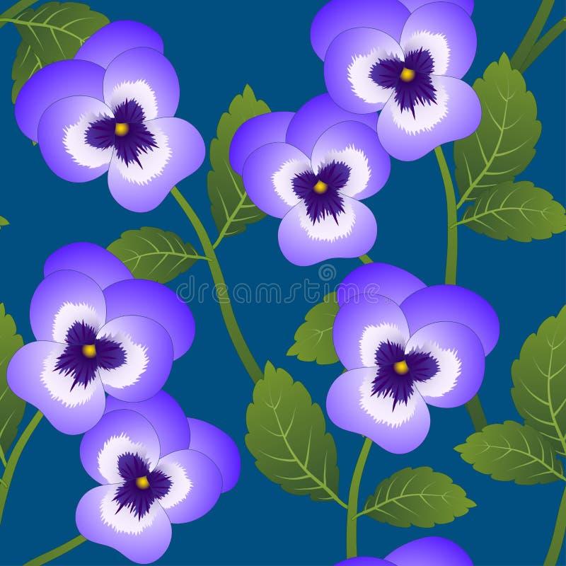 Violet Viola Garden Pansy Flower on Indigo Blue Background. Vector Illustration.  vector illustration