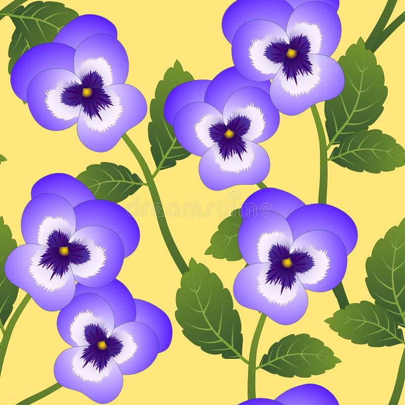 Violet Viola Garden Pansy Flower on Yellow Background. Vector Illustration.  royalty free illustration