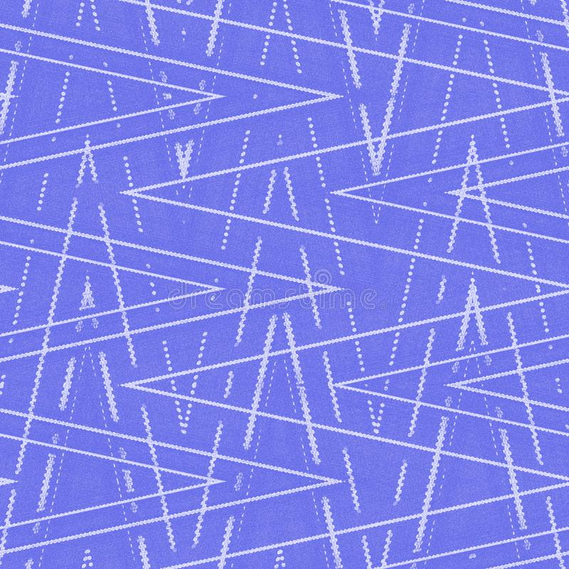 Blue or violet wallpaper with white zigzag pattern imitation denim stock illustration