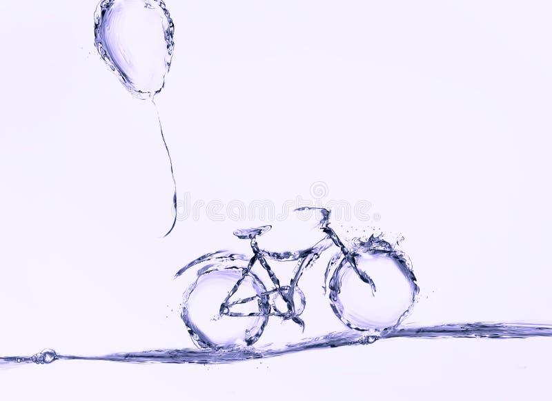 Violet Water Bicycle och ballong arkivfoto