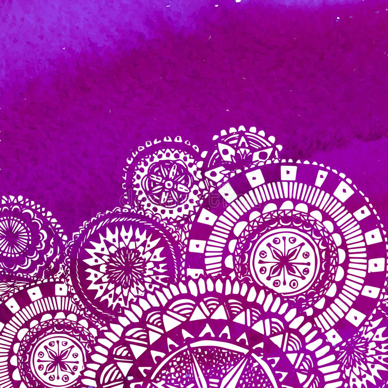 Violet watercolor paint background with white hand royalty free illustration