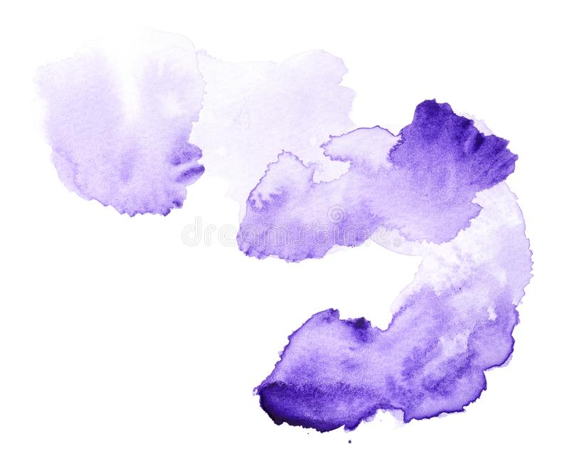 Violet watercolor splash hand drawn. Abstract violet watercolor splash isolated on white background royalty free stock photo