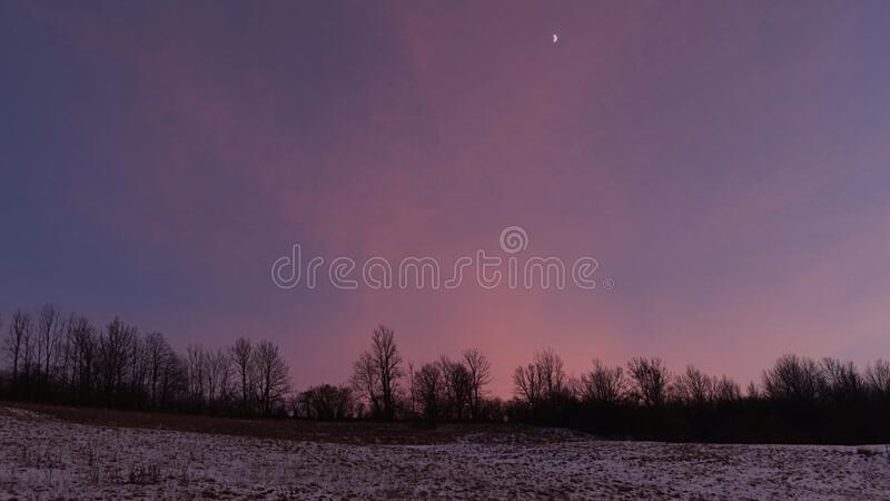 Violet winter skies after sunset above field and line of trees under Low Tatras mountains. Reminding of aurora borealis behind polar circle royalty free stock photos