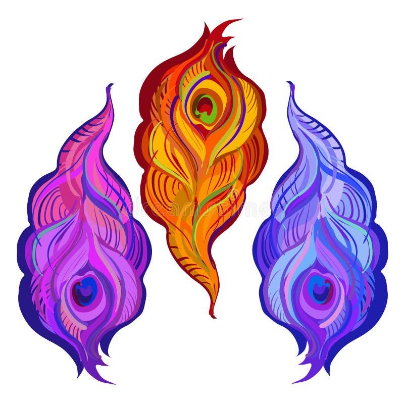 A violeta, alaranjado e o azul pintaram penas do pavão do vetor ilustração stock