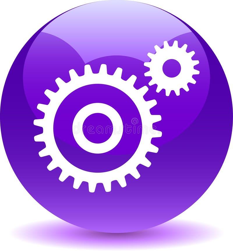 Violeta del botón del web de los ajustes stock de ilustración