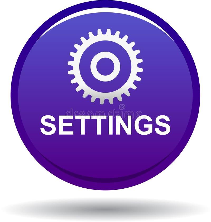 Violeta del botón del web de los ajustes ilustración del vector