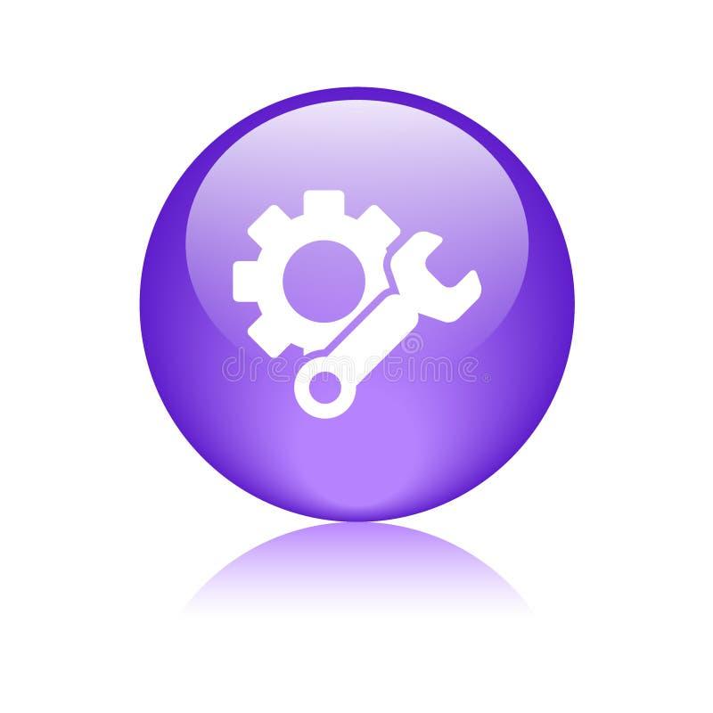 Violeta del botón del web del icono de los ajustes stock de ilustración