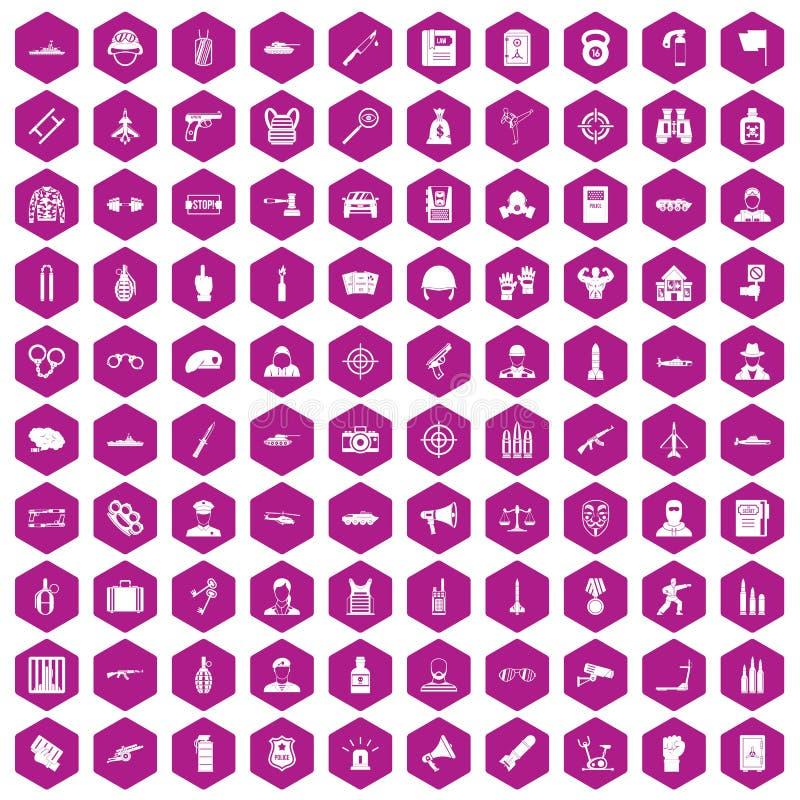 violeta del hexágono de 100 iconos del oficial ilustración del vector