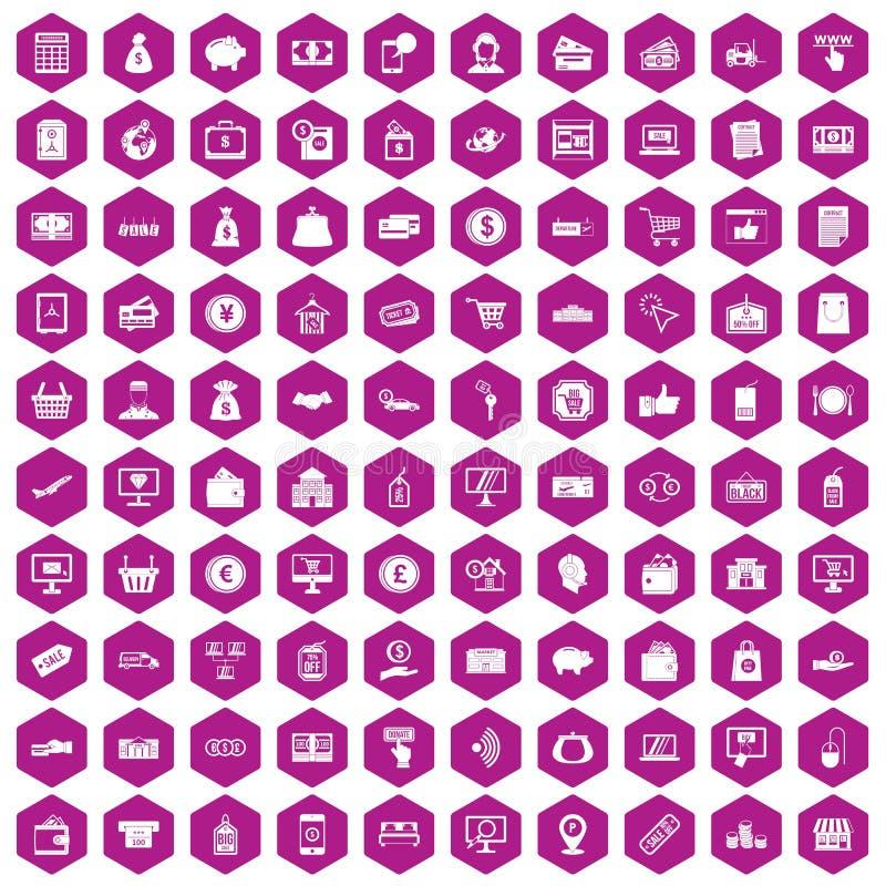 violeta del hexágono de 100 iconos del pago ilustración del vector