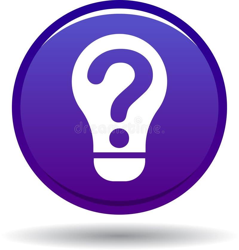 Violeta del icono del bulbo de la pregunta ilustración del vector