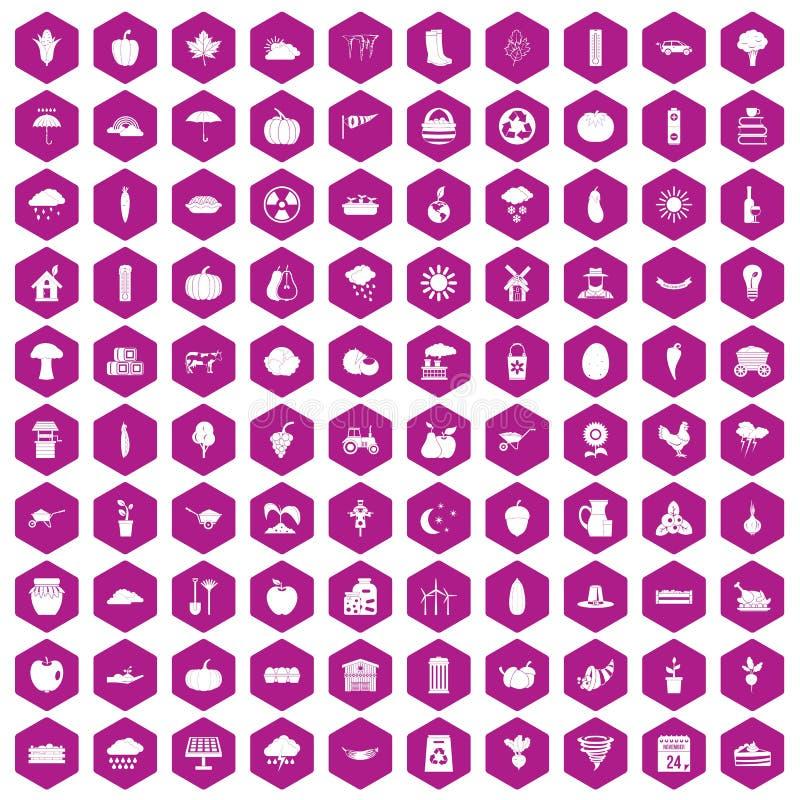 violeta do hexágono de 100 ícones da abóbora ilustração royalty free
