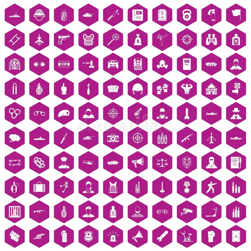 violeta do hexágono de 100 ícones do oficial ilustração do vetor
