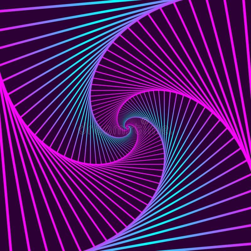 Violeta geométrica giratoria colorida y cuadrados azules Ilusión óptica abstracta geométrica en fondo violeta oscuro Vector eps10 stock de ilustración