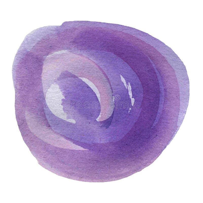 Violeta, lila, círculo espiral pintado a mano de la acuarela púrpura, ejemplo minimalistic ilustración del vector