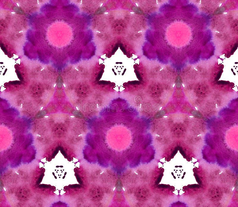 Violeta rosada inconsútil del bordo de Retrowave Synthwave del fondo del modelo de la acuarela del caleidoscopio del mosaico ilustración del vector