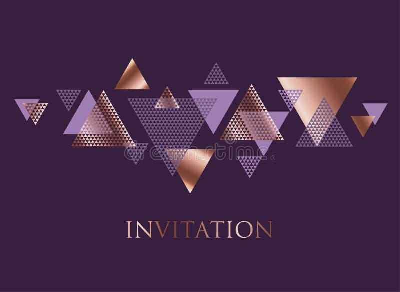 Violeta y dinámica color de rosa del triángulo del extracto del oro stock de ilustración