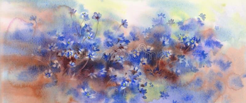 Violeten blommar p? v?ren skogvattenf?rgbakgrund arkivfoto
