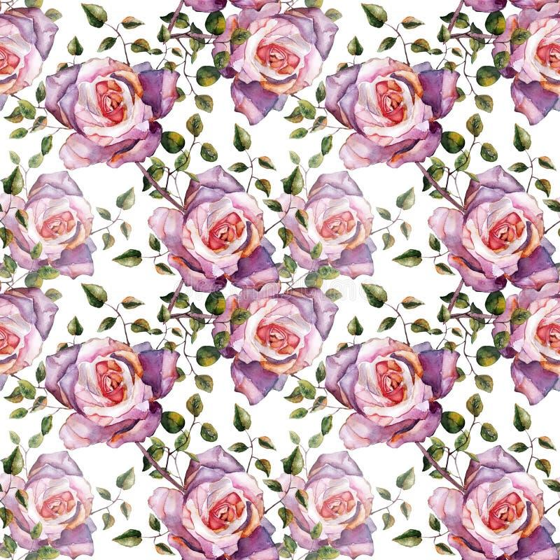 Violeten steg, vattenfärgen, mönstrar sömlöst, handgjort stock illustrationer