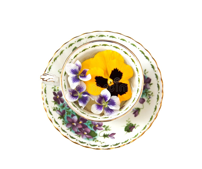 Download Violets and Pansies stock image. Image of chintz, saucer - 2370043