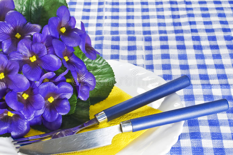 Violets on a plate stock photo