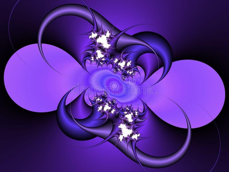 Violett blå dekorativ abstrakt fractal, blommadesign, sidor, bakgrund fotografering för bildbyråer