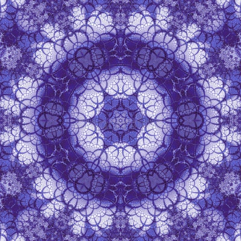 Violett eller mörkt - den blåa fractalen roterar mandalaen vektor illustrationer