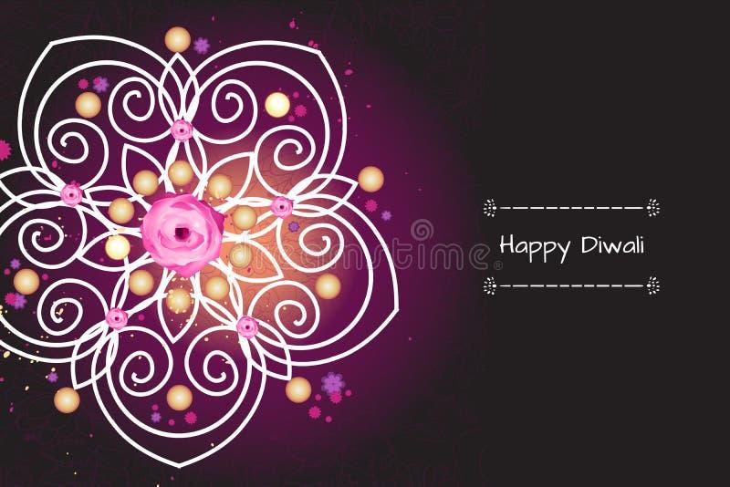 Violett färgbanerbegrepp för den Diwali festivalen royaltyfri illustrationer