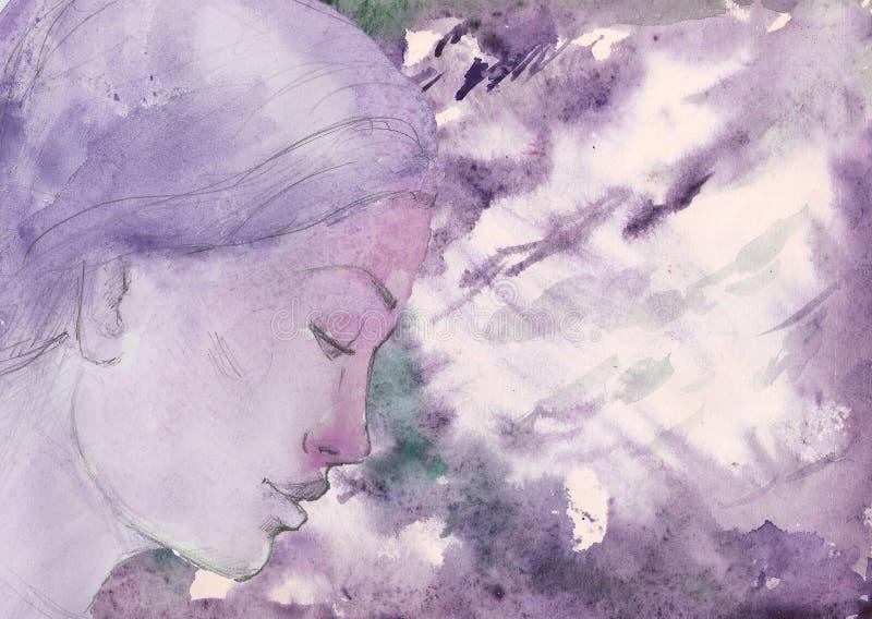 Violett flicka för vattenfärg och texturbakgrund vektor illustrationer