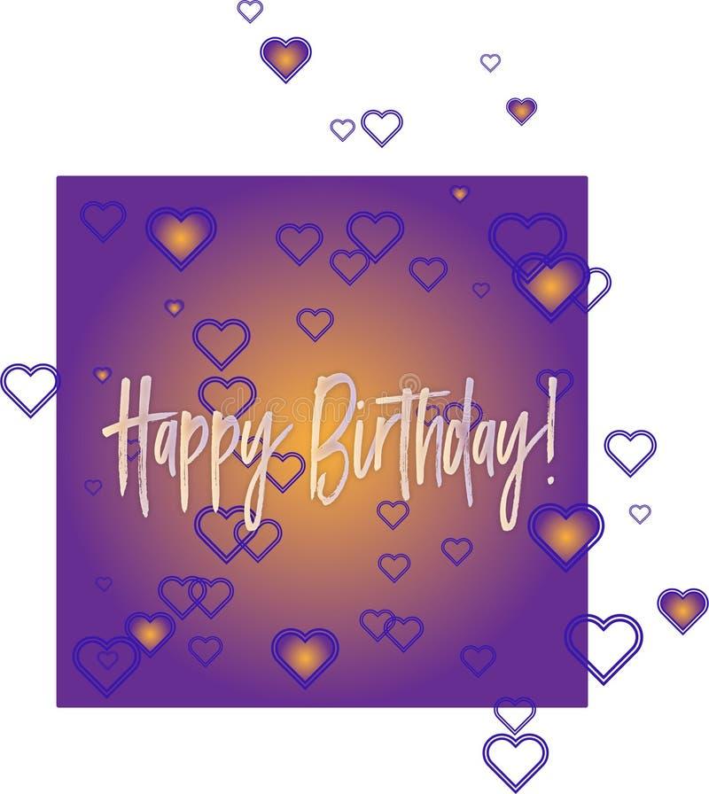 Violett hälsningkort för lycklig födelsedag royaltyfri illustrationer