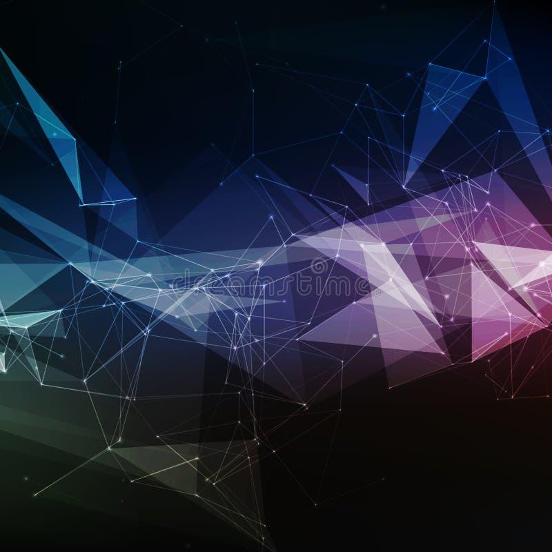 Violett ingreppsbakgrund för abstrakt vektor Kaotiskt förbindelsepunkter och polygoner som flyger i utrymme Flygskräp royaltyfri illustrationer