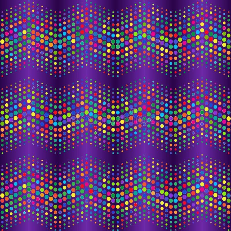 Violett modell för sömlös krabb lutning med vågor av färgrika bollar royaltyfri illustrationer