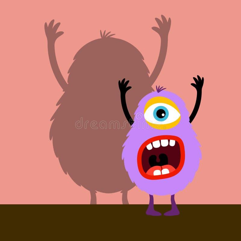 Violett monster för Cyclops med skugga vektor illustrationer