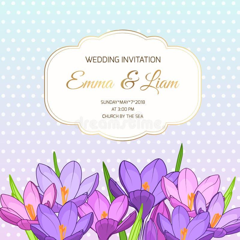 Violett purpurfärgad krokus blommar bröllopinbjudan vektor illustrationer