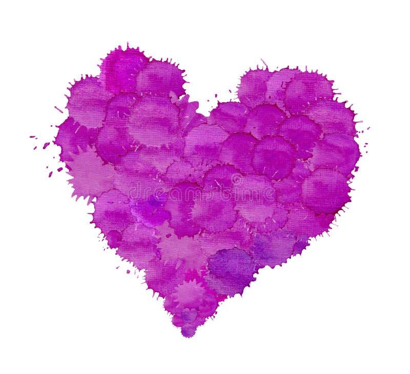 Violett purpurfärgad vattenfärghjärta vektor illustrationer