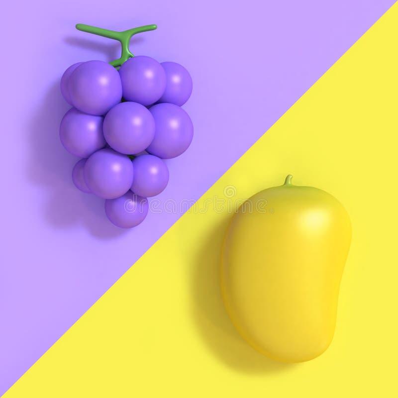 Violett-purpurrote Traube und minimaler Hintergrund 3d mit zwei Tönen der gelben Mangokarikaturart übertragen vektor abbildung