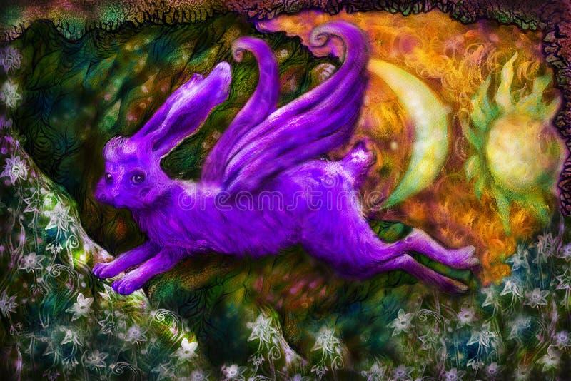 Violett que voa o coelho sonhador na terra do conto de fadas, ilustração ilustração stock
