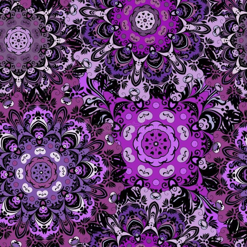 Violett sömlös modell med östlig mandalasorament Blom- design i aztecen, turk, Pakistan, indier, kines stock illustrationer