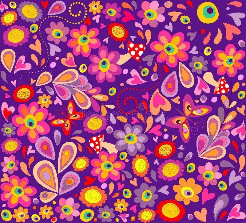 Violett tapet för hippie med roliga fjärilar, färgrika blommor och champinjoner vektor illustrationer